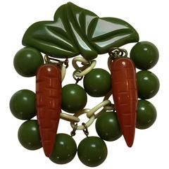 1930s Whimsical Bakelite Peas and Carrots Figural Brooch/Pin