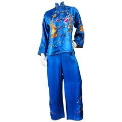 1940s Yang & Yin Embroidered Silk Pajama Set