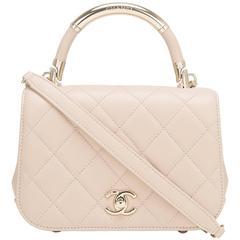 Chanel Beige Lambskin Carry Chic Flap Bag