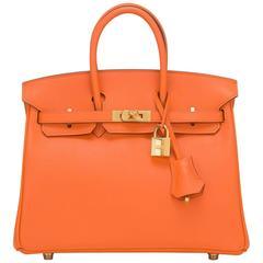 Hermes Orange H Swift 25cm Gold Hardware Birkin Bag