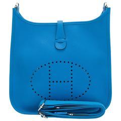 Hermes Blue Zanzibar Clemence Evelyne PM Bag