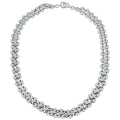 Hermès Vintage Sterling Silver Double Strand Confettis Necklace