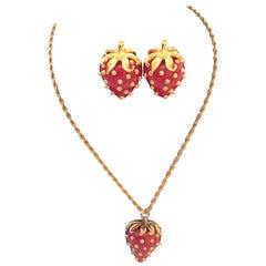 Kenneth J. Lane (KJL) Strawberry Necklace and Earring Set