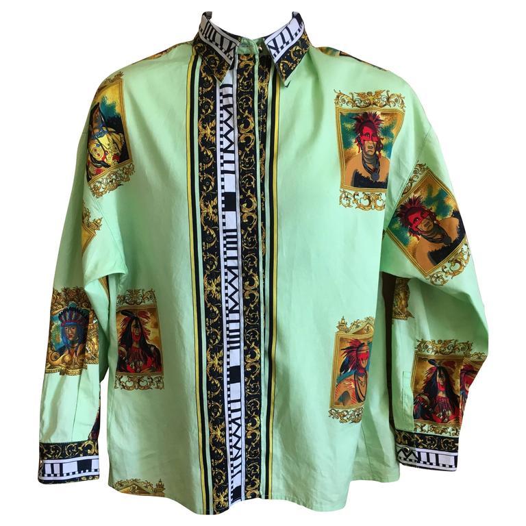 Versus Gianni Versace Rare1993 Cotton Indian Print Men's Large Shirt  1