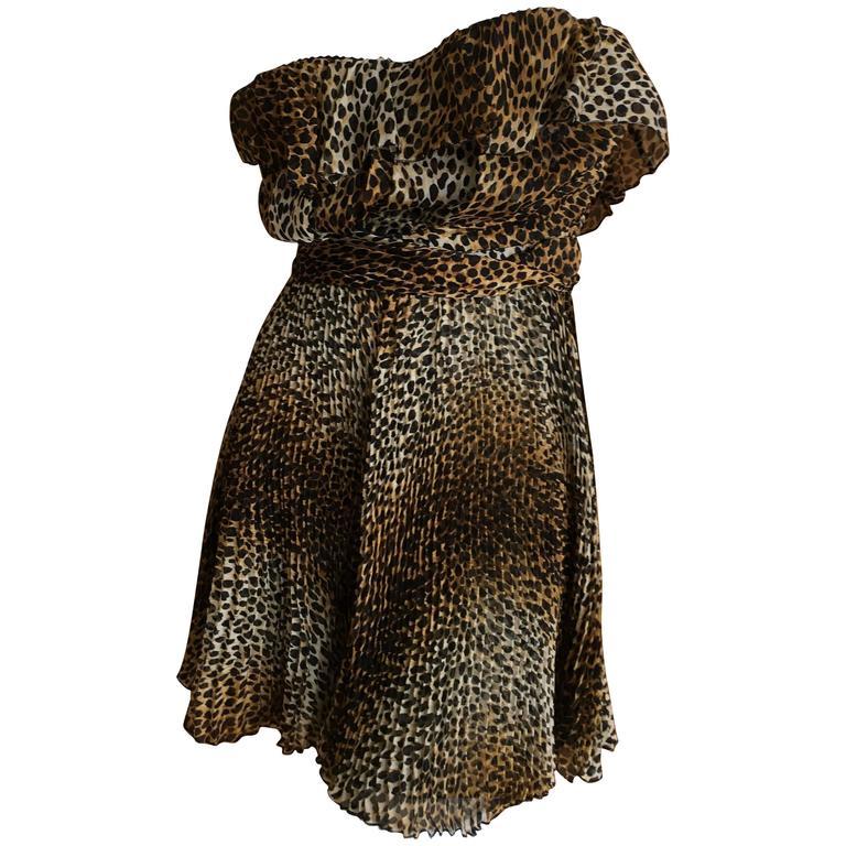 Vintage Dolce & Gabbana D&G Pleated Leopard Print Silk Mini Dress