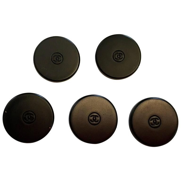 Chanel Buttons - Set of 5 - Black Metal - CC Logo
