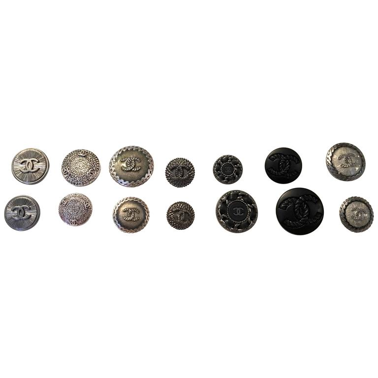Chanel Buttons - Assorted Lot of 14 - Silver Tone / Black  1