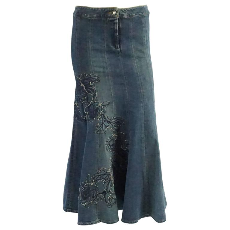 Roberto Cavalli Denim Skirt with Embroidery