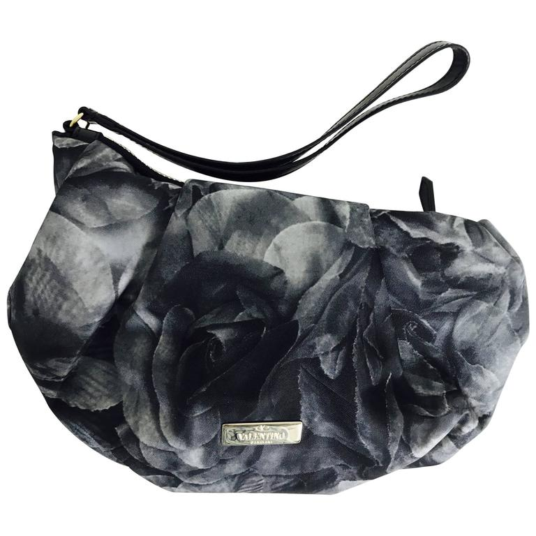 Valentino black roses zipper top clutch handbag