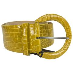 Tardini wide yellow crocodile belt NWT size Large 36