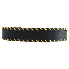 Valentino Black Satin Belt with Gold Woven Trim - 70 - 1980's