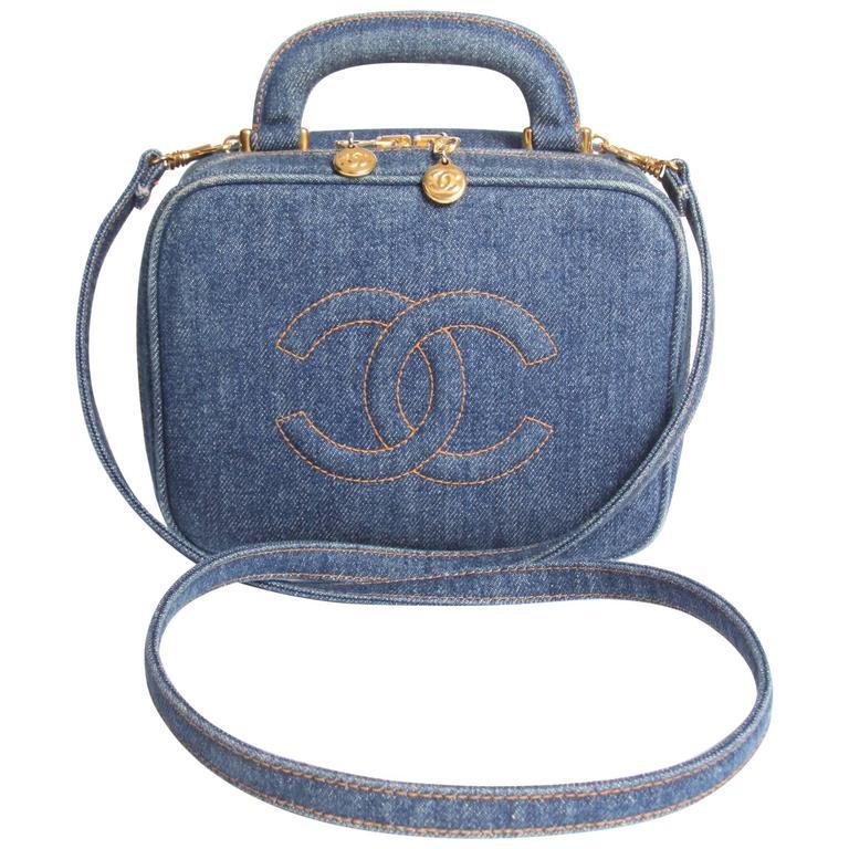 58c41848ec4d Chanel Vanity Bag Denim Vintage - blue 1996 at 1stdibs