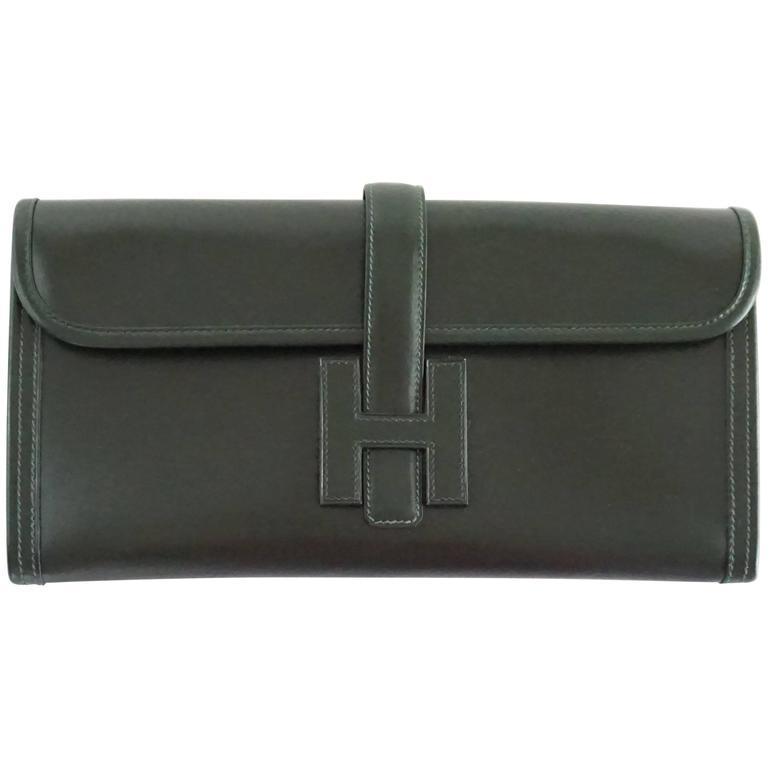 Hermes Dark Green Box Calf Jige Elan - 29 - 2010  NEW/NEVER CARRIED