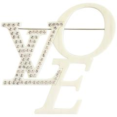 Marc Jacobs for Louis Vuitton Ivory Rhinestone Love Brooch