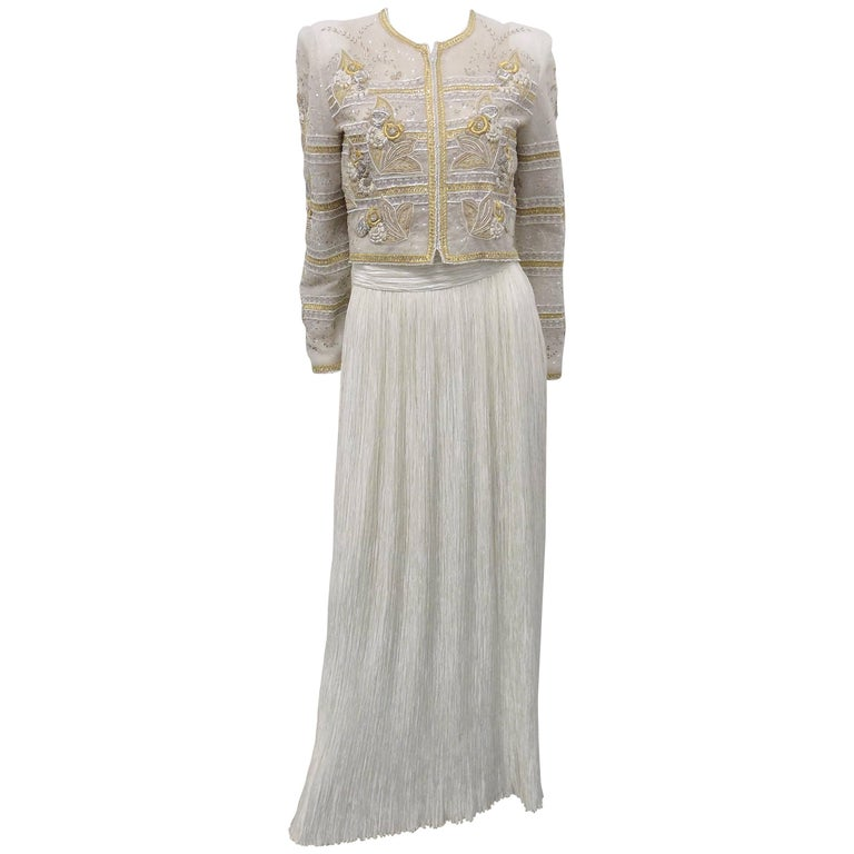 Mary McFadden Couture Bolero beaded jacket with pleated skirt