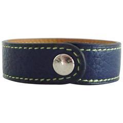 Hermes Blue Leather Bracelet