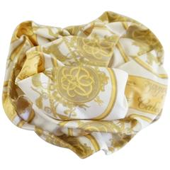 "Hermes Gold and Ivory ""Caleche"" Silk Brooch"