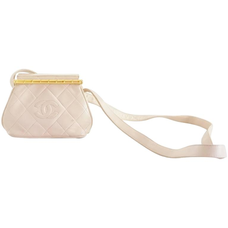 Chanel Pink Leather Frame Crossbody Bag - circa late 80's