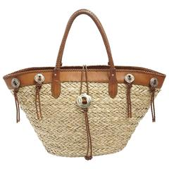 Ralph Lauren Straw and Brown Leather Tote Bag