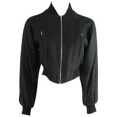 Christian Dior Black Linen Bomber Jacket - 1990's.