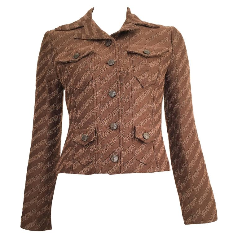 Christian Lacroix Cropped Brown Jacket Size 4.