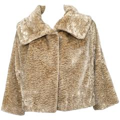 Bill Blass 1980s Faux Fur Jacket With Pockets Size 8.