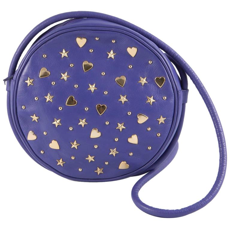 Gorgeous Saint Laurent Purple Leather Shoulder Bag For Sale