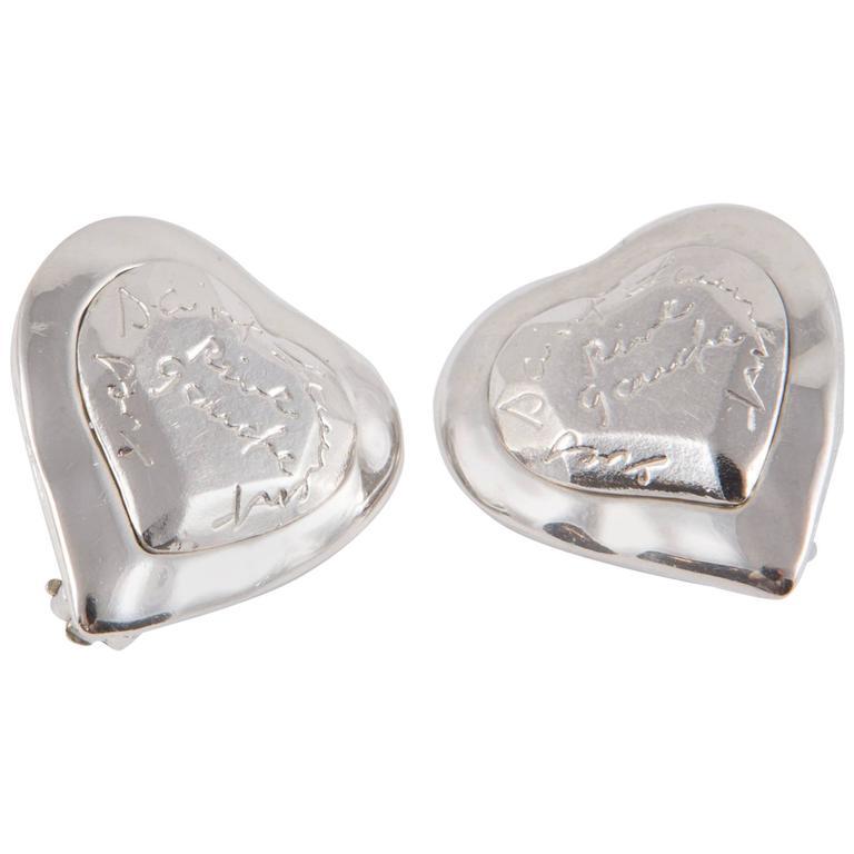 Saint Laurent Heart Logo Silver Tone Clip On Earrings For Sale
