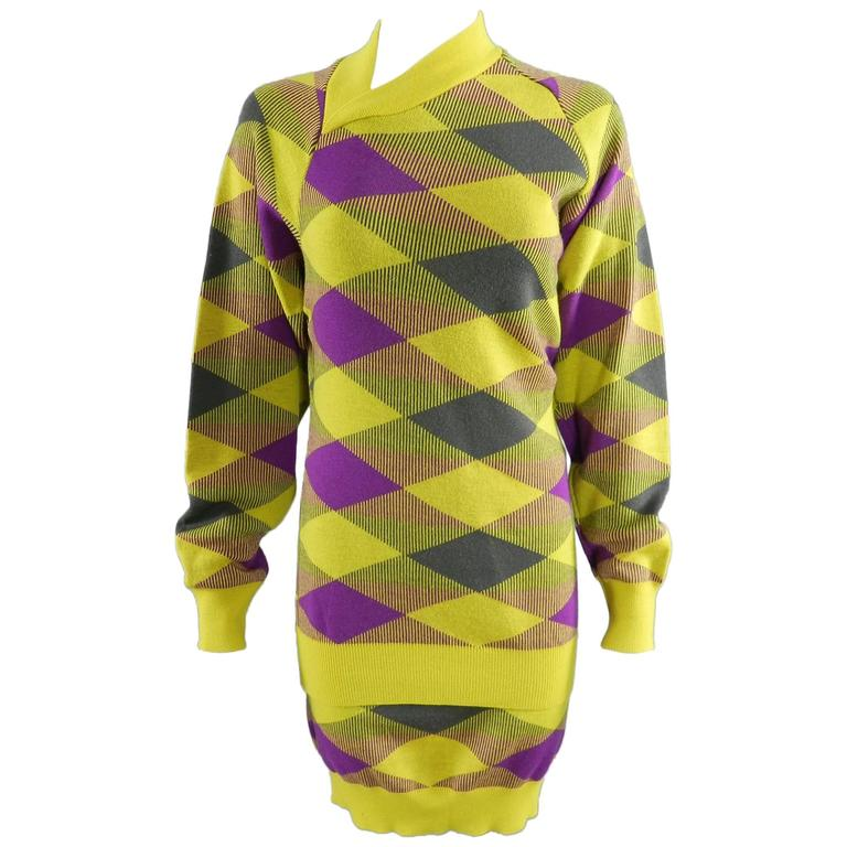 Issey Miyake 1980s Yellow and Purple Sweater and Skirt Set For Sale