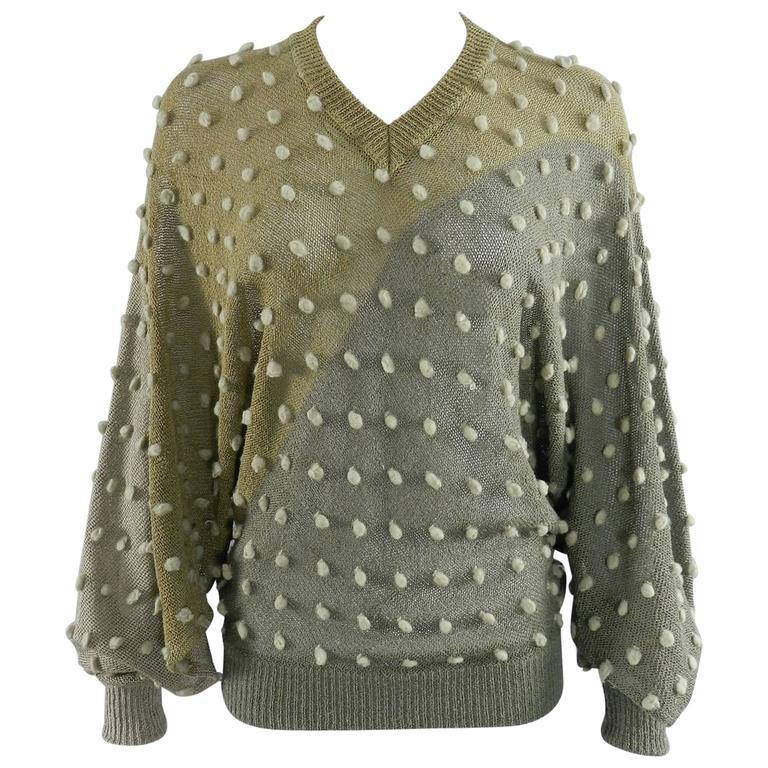 Issey Miyake 1980s Taupe Batwing Sleeve Sweater For Sale