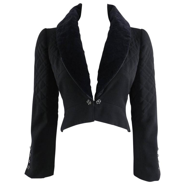 Chanel 06A black Crop Quilted Jacket with Velvet Collar 1