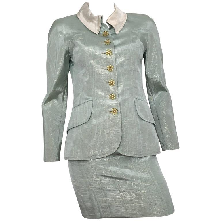 Christian Lacroix 1995 Aqua Skirt Suit Size 2/4.