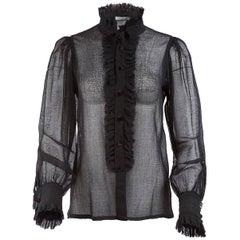 Tao Comme Des Garçons Sheer Silk Ruffled Blouse