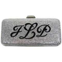 Judith Leiber Black JLP Black Silver Minaudiere Clutch Double sided $2625. New
