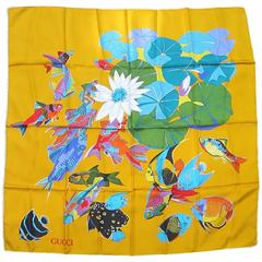"Gucci Silk Scarf ""Under The Sea"" Vintage New Never worn 1990s Old Stock"