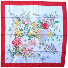Stunning New Gucci Vintage Floral Silk Scarf New Old stock Red Border