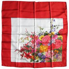 Gucci RED Floral Motif silk Scarf 1980s Never worn New Old Stock