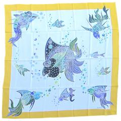 """Never Worn GUCCI Silk """"Under the sea"""" Scarf New old stock 1980s - 90s"""