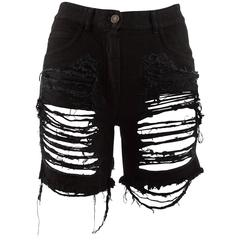 Maison Martin Margiela Spring-Summer 2008 black denim ripped shorts