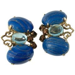 1960s Blue Schreiner Butterfly Earrings