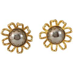 1960s MOD Silver and Gold Castlecliff Flower Earrings