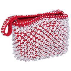 Mod 1960's Walborg Red & White Beaded Handbag