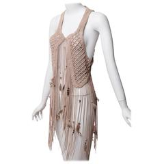 Roberto Cavalli s/s 2011 Leather Macrame Feather Beads Fringe Vest
