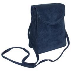 Textural C.1990 Michelle LaLonde Suede Leather Navy Blue Handbag