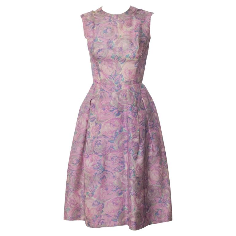 1950s Hattie Carnegie Silk Floral Print Watercolor Nipped Waist Dress