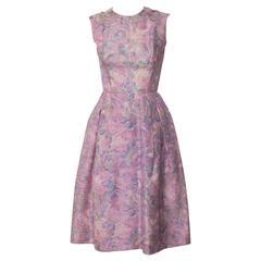 1950s Hattie Carnegie Silk Floral Print Watercolor Nipped Waist Dress