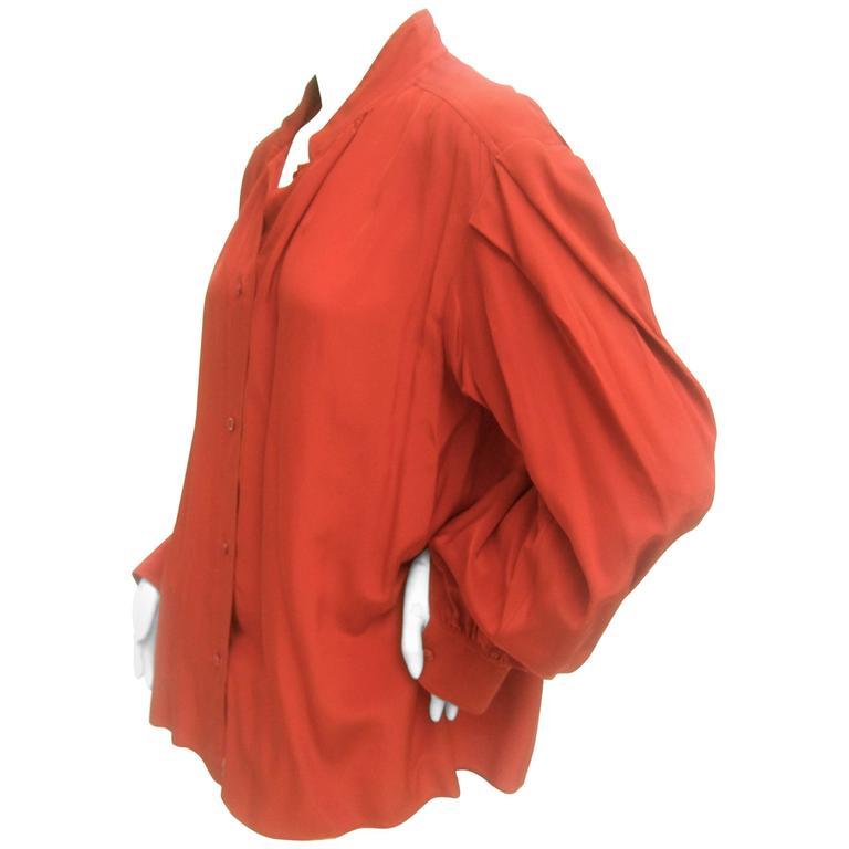 Saint Laurent Rive Gauche Crimson Red Silk Blouse c 1970s