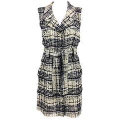 2006 Chanel Tweed Bouclé Belted Shirt Dress