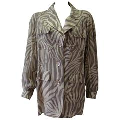 Jean Louis Scherrer Zebra Print Silk Jacket