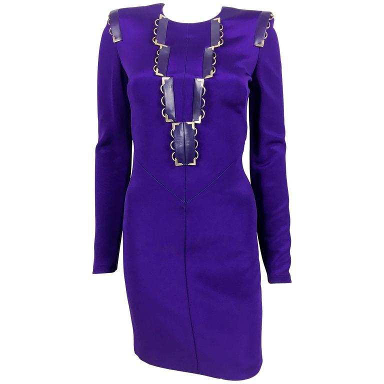 2010s Versace Royal Purple Body-Hugging Cocktail Dress 1